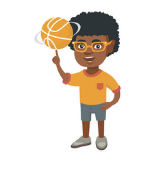 african boy spinning basketball ball on finger vector image vector image
