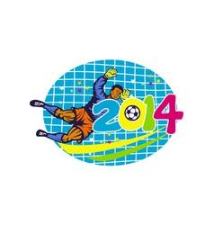 Brazil 2014 goalie football player retro vector