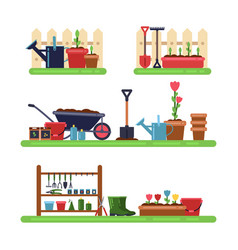 Gardens landscape with different furniture summer vector