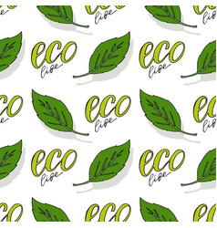 Green seamless pattern eco life background vector