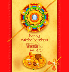 Greeting card with decorative rakhi for raksha vector