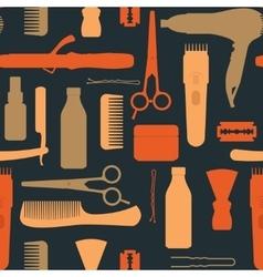 Hairdressing salon vintage seamless pattern vector