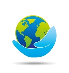 Hand holding globe world care icon graphic vector