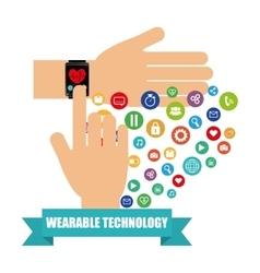 Hand smart watch health electronic wearable vector