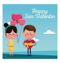 Happy san valentine card girl branch balloons and vector