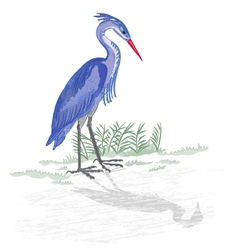 Heron-by-the-lake vector