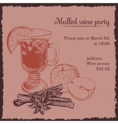 Invitation template for mulled wine party vector image