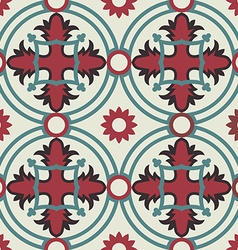 Mosaic floor pattern with vintage decoration vector image