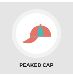 Peaked cap icon flat vector
