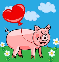 Pig cartoon with heart balloon vector image