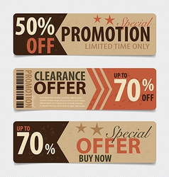 Price tag sale coupon voucher vintage style vector