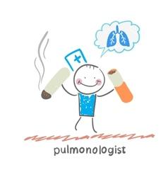 Pulmonologist spoils cigarette vector