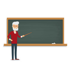 Senior male teacher teaches a lesson vector
