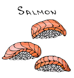 set of salmon sushi for seafood menu vector image