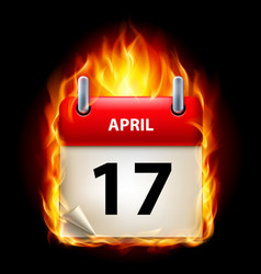 seventeenth april in calendar burning icon on vector image vector image