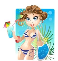 Summer pretty girl on the beach vector