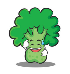 sweat smile broccoli chracter cartoon style vector image vector image