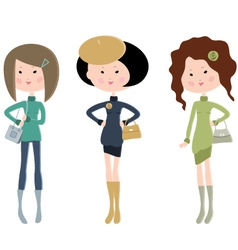 Three cartoon fashionable young women vector image vector image