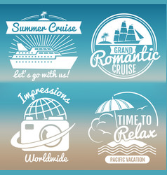 white vintage vacation logo set - summer travel vector image