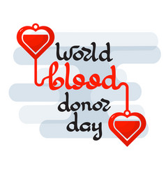 World blood donor day emblem isolated on white vector