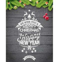 Christmas typographic design on wood background vector