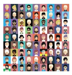 Set of people icons in flat style with faces 08 b vector