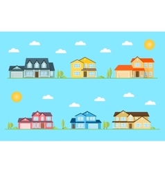 Neighborhood with homes on the blue vector