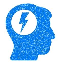 Brain electric shock grainy texture icon vector