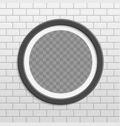 Round photo frame on brick wall vector