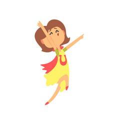 Cute happy surprised cartoon woman jumping vector