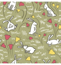 Bunnies and flowers vector