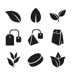 Tea leaf and bags icons set vector