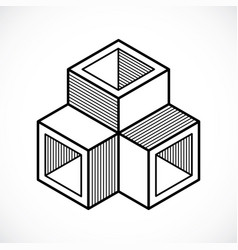 3d design abstract dimensional cube shape vector image vector image