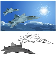 stealth fighter vector image