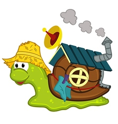 Snail with a house vector