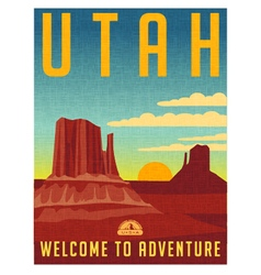 Retro travel poster for Utah vector image