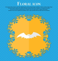 Bat floral flat design on a blue abstract vector