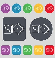Dices icon sign a set of 12 colored buttons flat vector