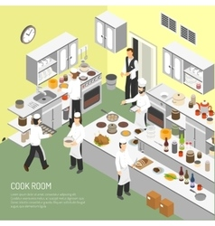 Restaurant cooking room isometric poster vector