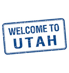 Welcome to utah blue grunge square stamp vector