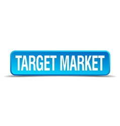 Target market blue 3d realistic square isolated vector