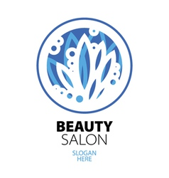 blue ball of leaves logo for beauty salon vector image vector image