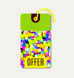 Bright tags with rainbow glitter vector