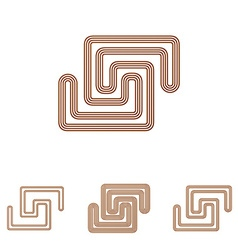Brown line scientific logo design set vector