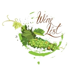 Bunch of green grapes with leaves and wine stain vector image