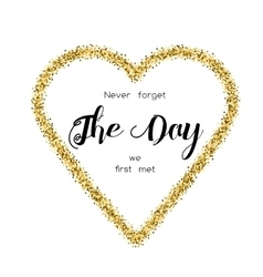 Card with love words in the golden glittering vector image