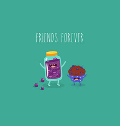 cartoon breakfast friends forever jam vector image