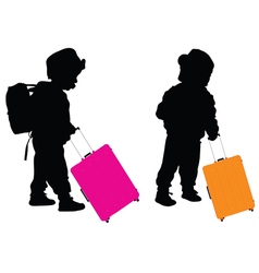 Child with travel baggage vector