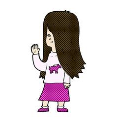 Comic cartoon girl with pony shirt waving vector