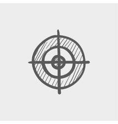 Crosshair target sketch icon vector